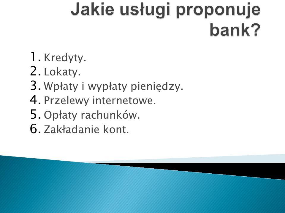 1. Kredyty. 2. Lokaty. 3. Wpłaty i wypłaty pieniędzy.