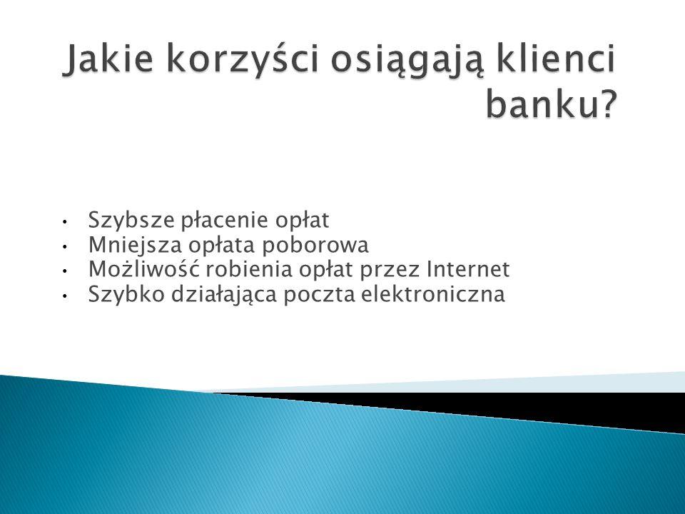 Szybsze płacenie opłat Mniejsza opłata poborowa Możliwość robienia opłat przez Internet Szybko działająca poczta elektroniczna
