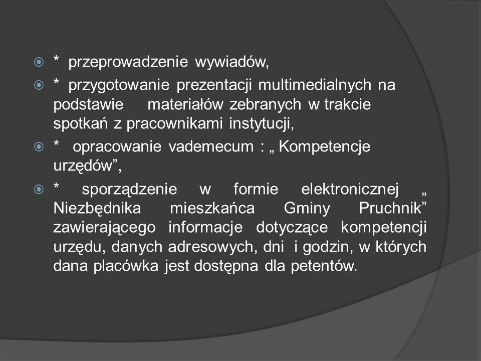  * przeprowadzenie wywiadów,  * przygotowanie prezentacji multimedialnych na podstawie materiałów zebranych w trakcie spotkań z pracownikami instytu