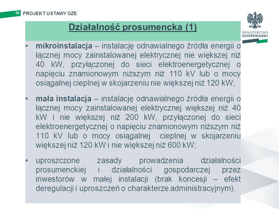 10 PROJEKT USTAWY OZE Działalność prosumencka (1) mikroinstalacja – instalację odnawialnego źródła energii o łącznej mocy zainstalowanej elektrycznej