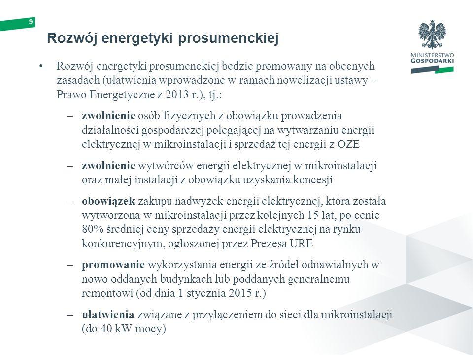10 PROJEKT USTAWY OZE Działalność prosumencka (1) mikroinstalacja – instalację odnawialnego źródła energii o łącznej mocy zainstalowanej elektrycznej nie większej niż 40 kW, przyłączonej do sieci elektroenergetycznej o napięciu znamionowym niższym niż 110 kV lub o mocy osiągalnej cieplnej w skojarzeniu nie większej niż 120 kW; mała instalacja – instalację odnawialnego źródła energii o łącznej mocy zainstalowanej elektrycznej większej niż 40 kW i nie większej niż 200 kW, przyłączonej do sieci elektroenergetycznej o napięciu znamionowym niższym niż 110 kV lub o mocy osiągalnej cieplnej w skojarzeniu większej niż 120 kW i nie większej niż 600 kW; uproszczone zasady prowadzenia działalności prosumenckiej i działalności gospodarczej przez inwestorów w małej instalacji (brak koncesji – efekt deregulacji i uproszczeń o charakterze administracyjnym).