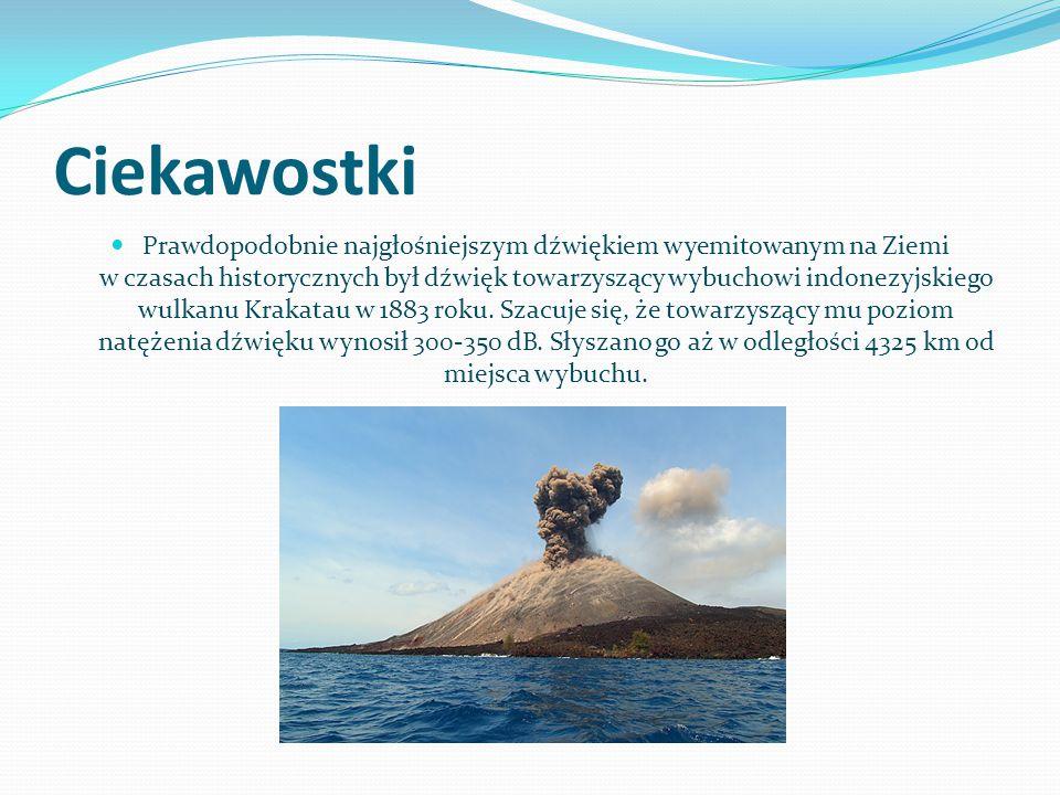 Ciekawostki Prawdopodobnie najgłośniejszym dźwiękiem wyemitowanym na Ziemi w czasach historycznych był dźwięk towarzyszący wybuchowi indonezyjskiego wulkanu Krakatau w 1883 roku.