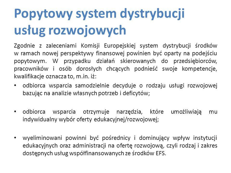 Popytowy system dystrybucji usług rozwojowych Zgodnie z zaleceniami Komisji Europejskiej system dystrybucji środków w ramach nowej perspektywy finansowej powinien być oparty na podejściu popytowym.