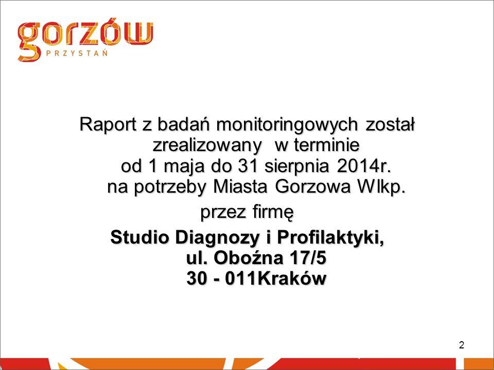 2 Raport z badań monitoringowych został zrealizowany w terminie od 1 maja do 31 sierpnia 2014r. na potrzeby Miasta Gorzowa Wlkp. przez firmę Studio Di