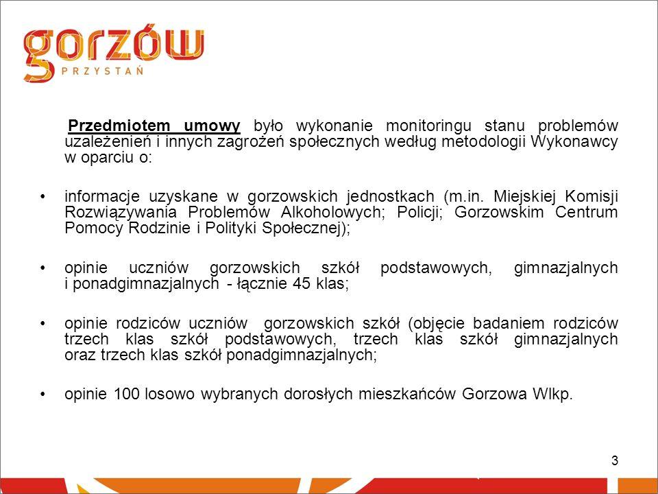 4 Metodologia badań: 1.Badanie dorosłych mieszkańców Gorzowa, w których wzięło udział 116 osób, przeprowadzone było przy użyciu ankiety rozdawanej i odbieranej przez ankieterów w miejscach publicznych.