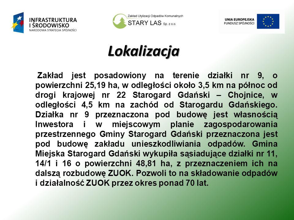 Lokalizacja Zakład jest posadowiony na terenie działki nr 9, o powierzchni 25,19 ha, w odległości około 3,5 km na północ od drogi krajowej nr 22 Starogard Gdański – Chojnice, w odległości 4,5 km na zachód od Starogardu Gdańskiego.