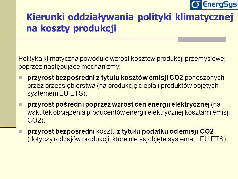 Kierunki oddziaływania polityki klimatycznej na koszty produkcji Polityka klimatyczna powoduje wzrost kosztów produkcji przemysłowej poprzez następują