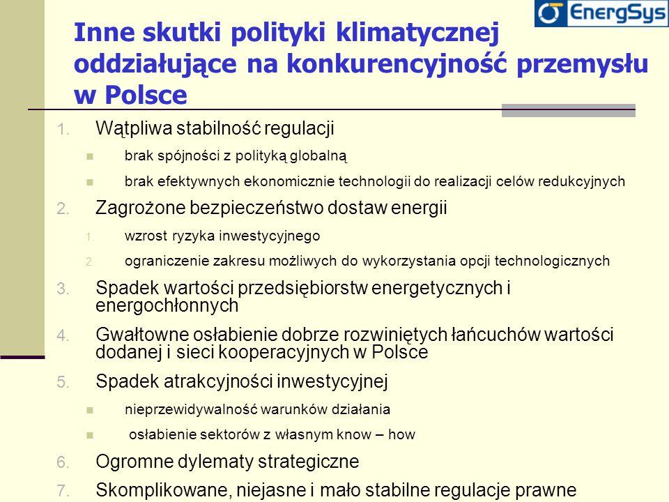 Inne skutki polityki klimatycznej oddziałujące na konkurencyjność przemysłu w Polsce 1. Wątpliwa stabilność regulacji brak spójności z polityką global