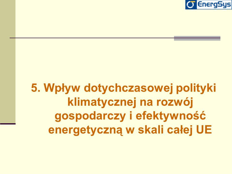5. Wpływ dotychczasowej polityki klimatycznej na rozwój gospodarczy i efektywność energetyczną w skali całej UE