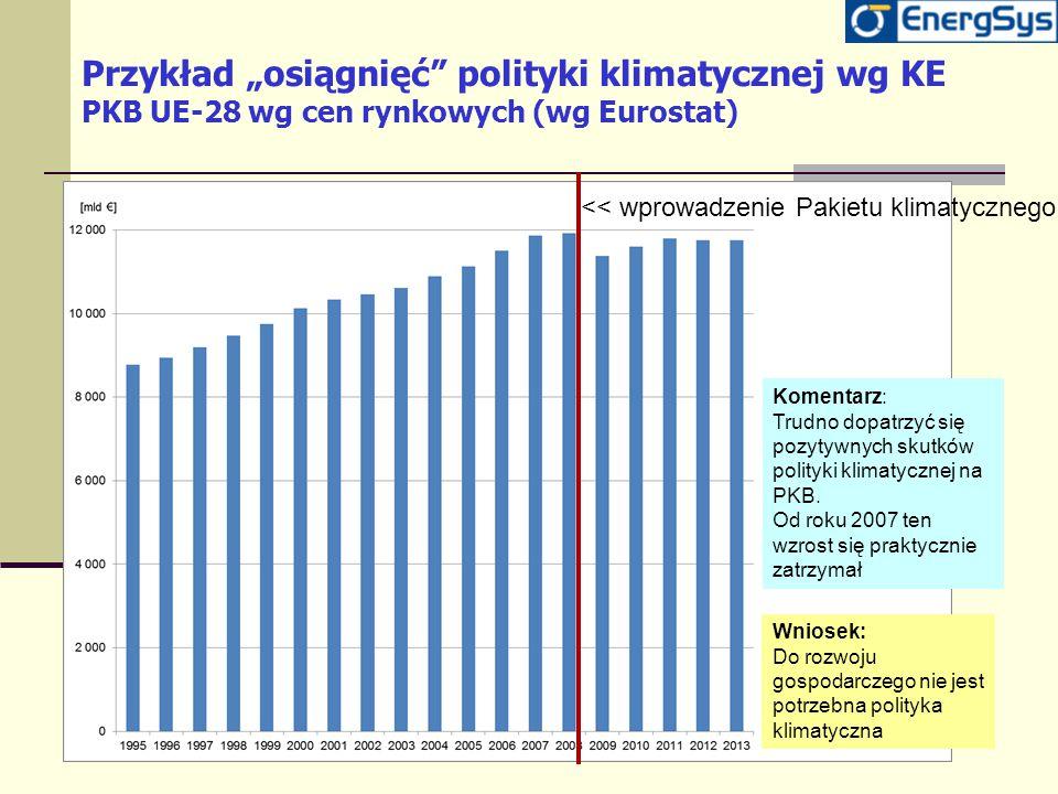 """Przykład """"osiągnięć"""" polityki klimatycznej wg KE PKB UE-28 wg cen rynkowych (wg Eurostat) Komentarz: Trudno dopatrzyć się pozytywnych skutków polityki"""