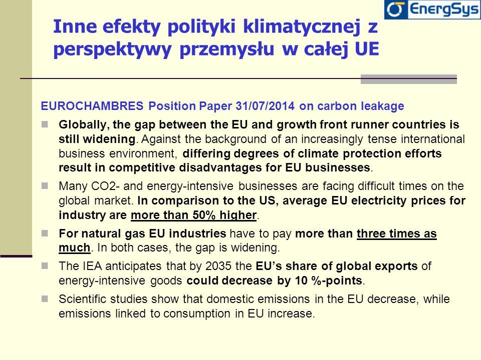 Inne efekty polityki klimatycznej z perspektywy przemysłu w całej UE EUROCHAMBRES Position Paper 31/07/2014 on carbon leakage Globally, the gap betwee
