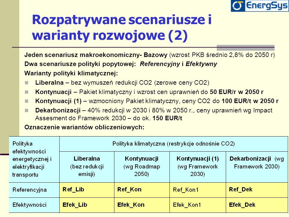 Rozpatrywane scenariusze i warianty rozwojowe (2) Jeden scenariusz makroekonomiczny- Bazowy (wzrost PKB średnio 2,8% do 2050 r) Dwa scenariusze polity