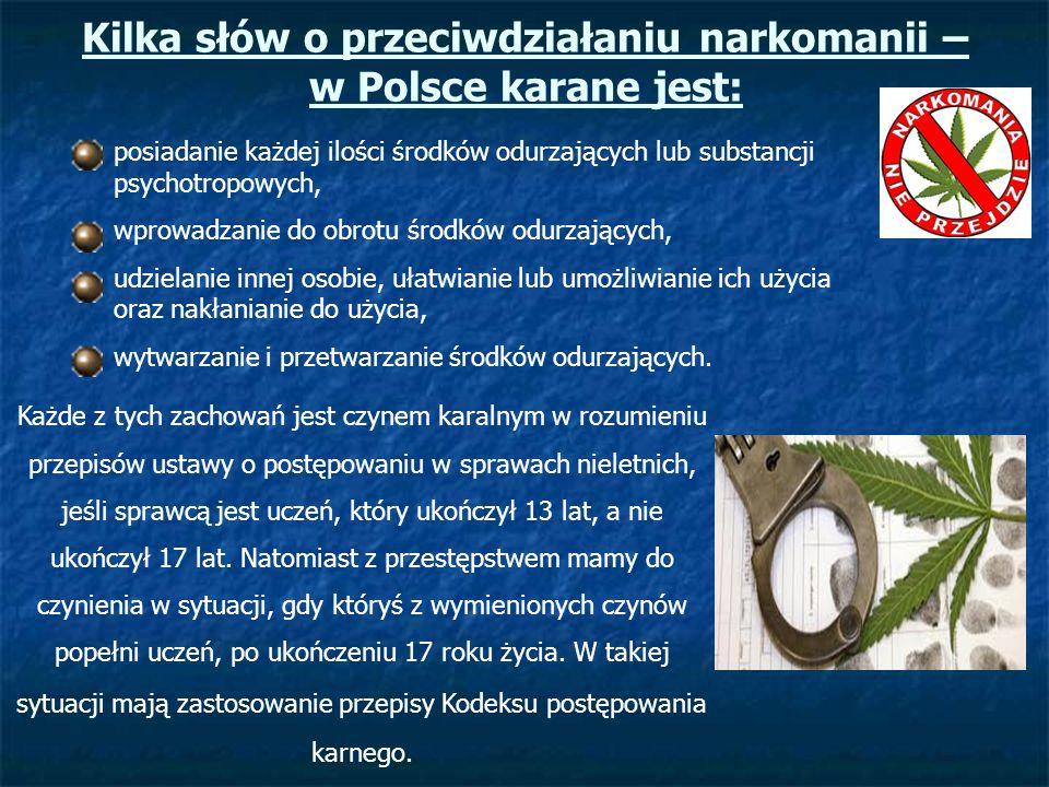 Kilka słów o przeciwdziałaniu narkomanii – w Polsce karane jest: posiadanie każdej ilości środków odurzających lub substancji psychotropowych, wprowad
