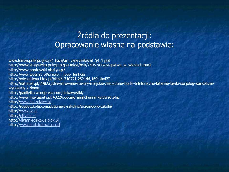 Źródła do prezentacji: Opracowanie własne na podstawie: www.lomza.policja.gov.pl/_baza/art_zalaczniki/zal_54_1.ppt http://www.statystyka.policja.pl/po