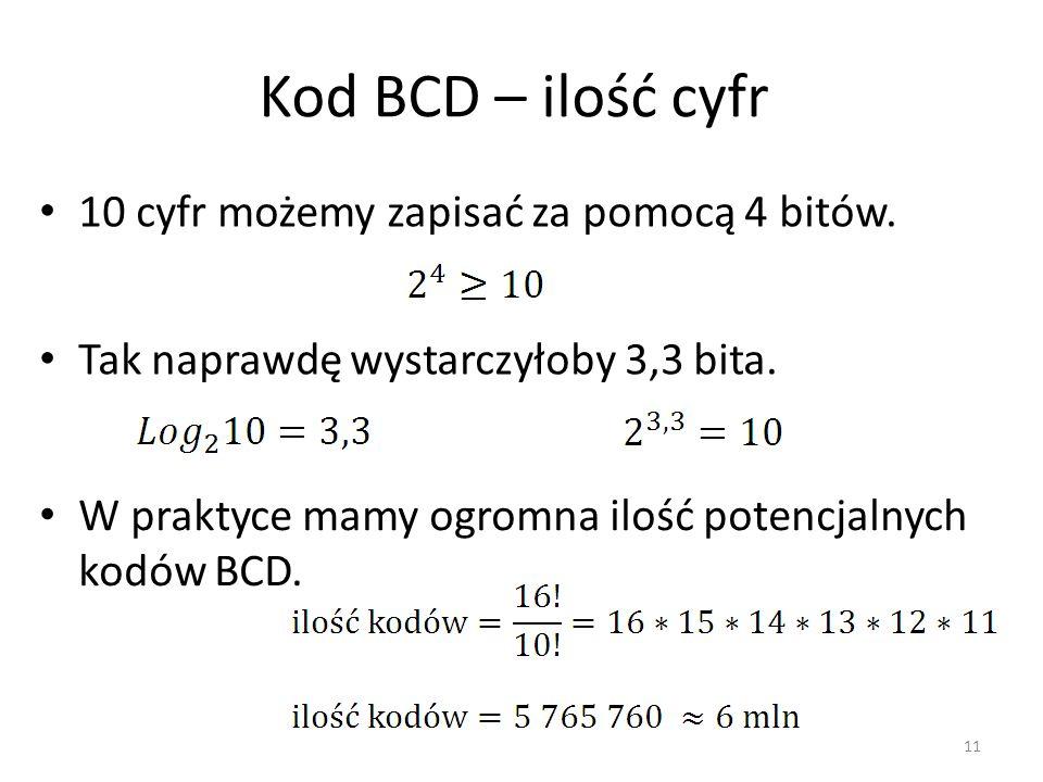 Kod BCD – ilość cyfr 10 cyfr możemy zapisać za pomocą 4 bitów. 11 Tak naprawdę wystarczyłoby 3,3 bita. W praktyce mamy ogromna ilość potencjalnych kod