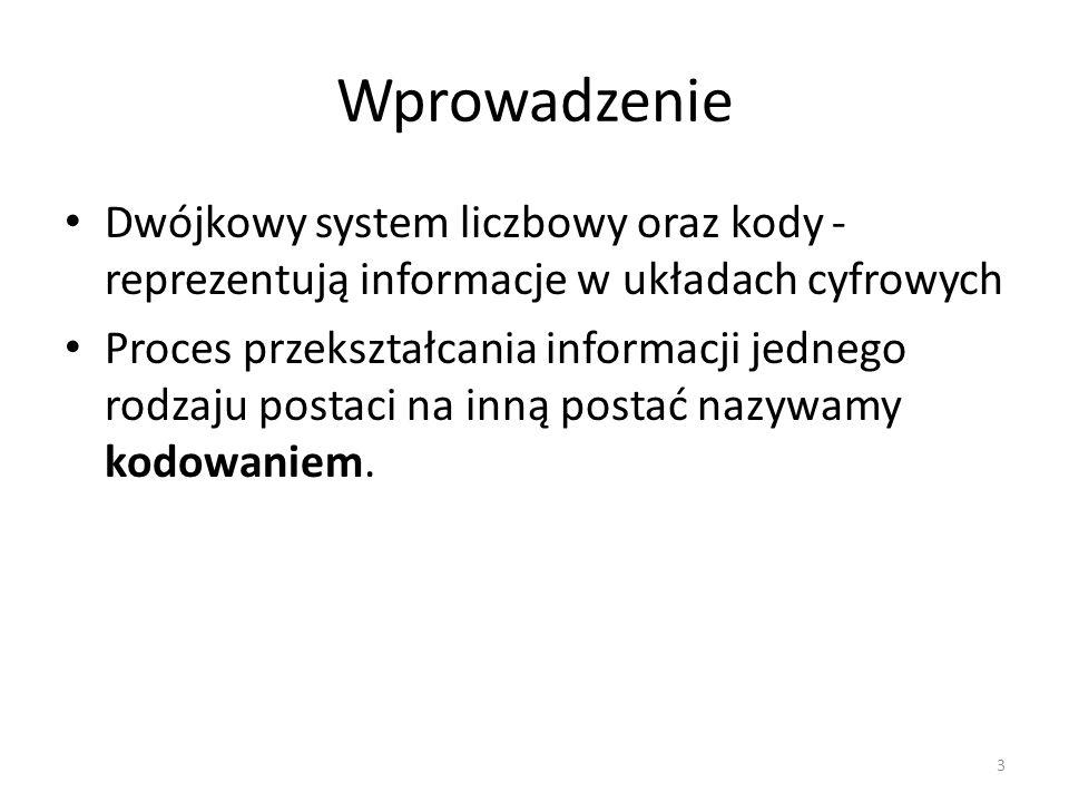 Wprowadzenie Dwójkowy system liczbowy oraz kody - reprezentują informacje w układach cyfrowych Proces przekształcania informacji jednego rodzaju posta