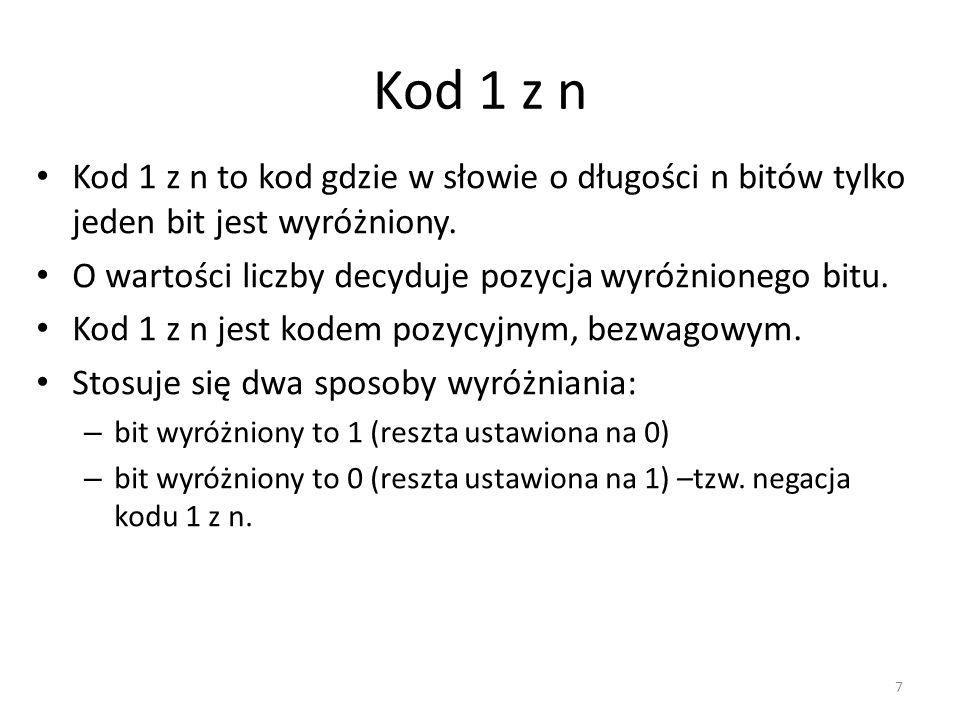 Kod 1 z n Kod 1 z n to kod gdzie w słowie o długości n bitów tylko jeden bit jest wyróżniony. O wartości liczby decyduje pozycja wyróżnionego bitu. Ko