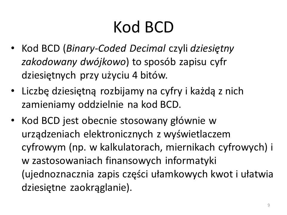Kod BCD Kod BCD (Binary-Coded Decimal czyli dziesiętny zakodowany dwójkowo) to sposób zapisu cyfr dziesiętnych przy użyciu 4 bitów. Liczbę dziesiętną