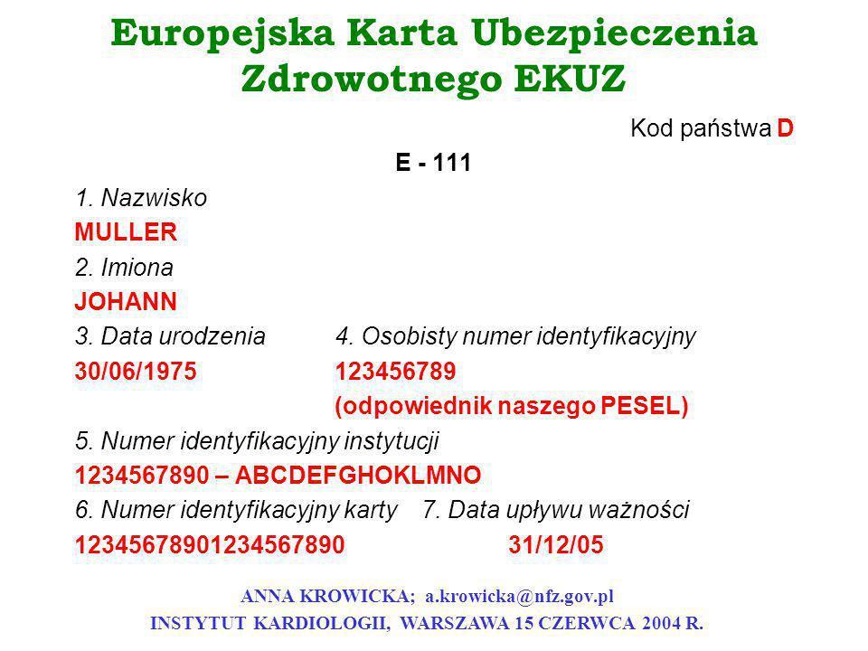 Europejska Karta Ubezpieczenia Zdrowotnego EKUZ Kod państwa D E - 111 1. Nazwisko MULLER 2. Imiona JOHANN 3. Data urodzenia4. Osobisty numer identyfik