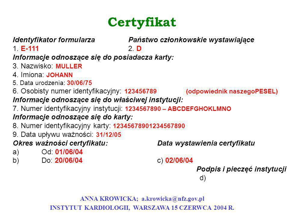 Certyfikat Identyfikator formularzaPaństwo członkowskie wystawiające 1. E-1112. D Informacje odnoszące się do posiadacza karty: 3. Nazwisko: MULLER 4.
