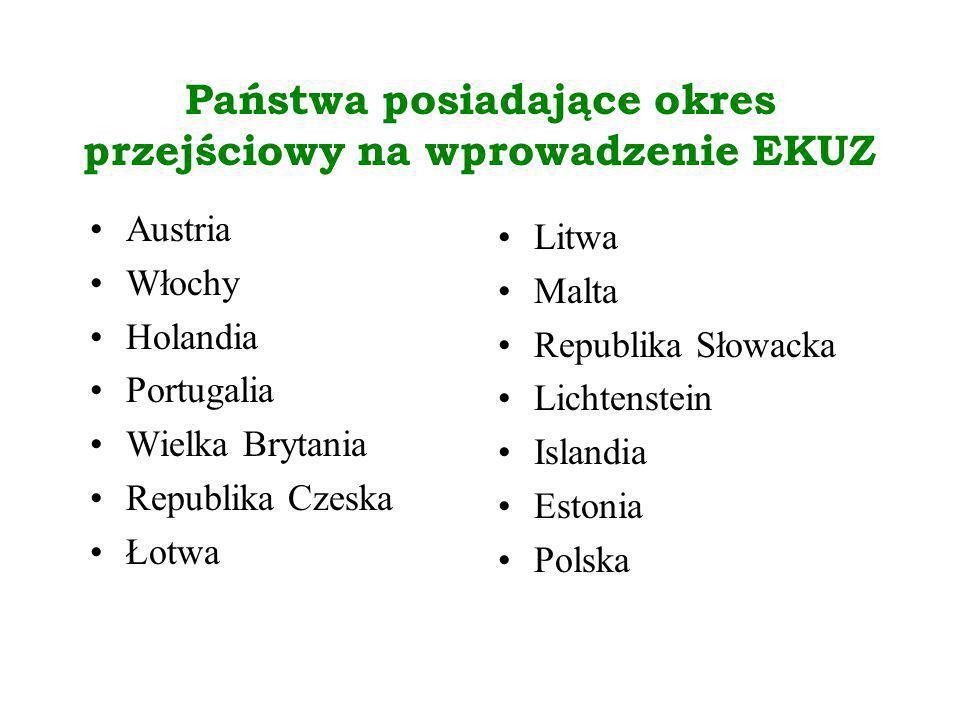 Państwa posiadające okres przejściowy na wprowadzenie EKUZ Austria Włochy Holandia Portugalia Wielka Brytania Republika Czeska Łotwa Litwa Malta Repub