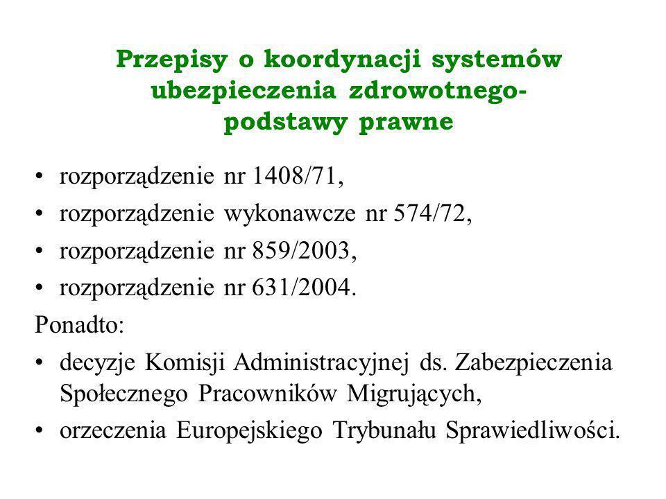 Przepisy o koordynacji systemów ubezpieczenia zdrowotnego- podstawy prawne rozporządzenie nr 1408/71, rozporządzenie wykonawcze nr 574/72, rozporządze