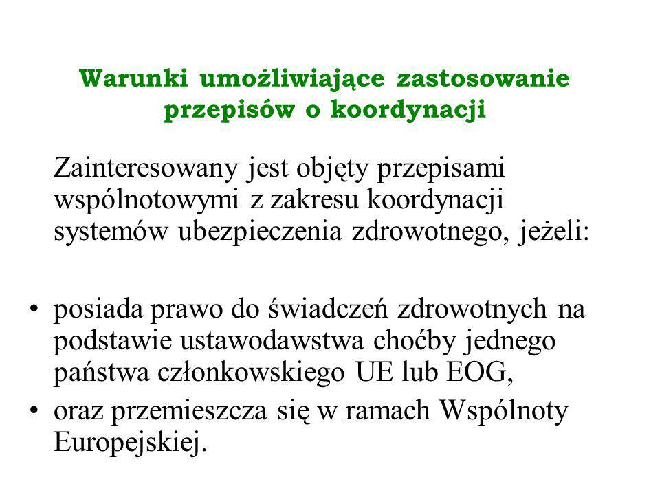ZAKRES ŚWIADCZEŃ ZDROWOTNYCH Wyróżniamy dwa zakresy świadczeń przysługujących osobom uprawnionym na podstawie przepisów o koordynacji: pełen zakres świadczeń zdrowotnych, świadczenia niezbędne ze wskazań medycznych podczas pobytu w Polsce biorąc pod uwagę charakter tych świadczeń i planowany czas pobytu; oceny, czy świadczenia spełniają te wymogi, dokonuje lekarz je udzielający.