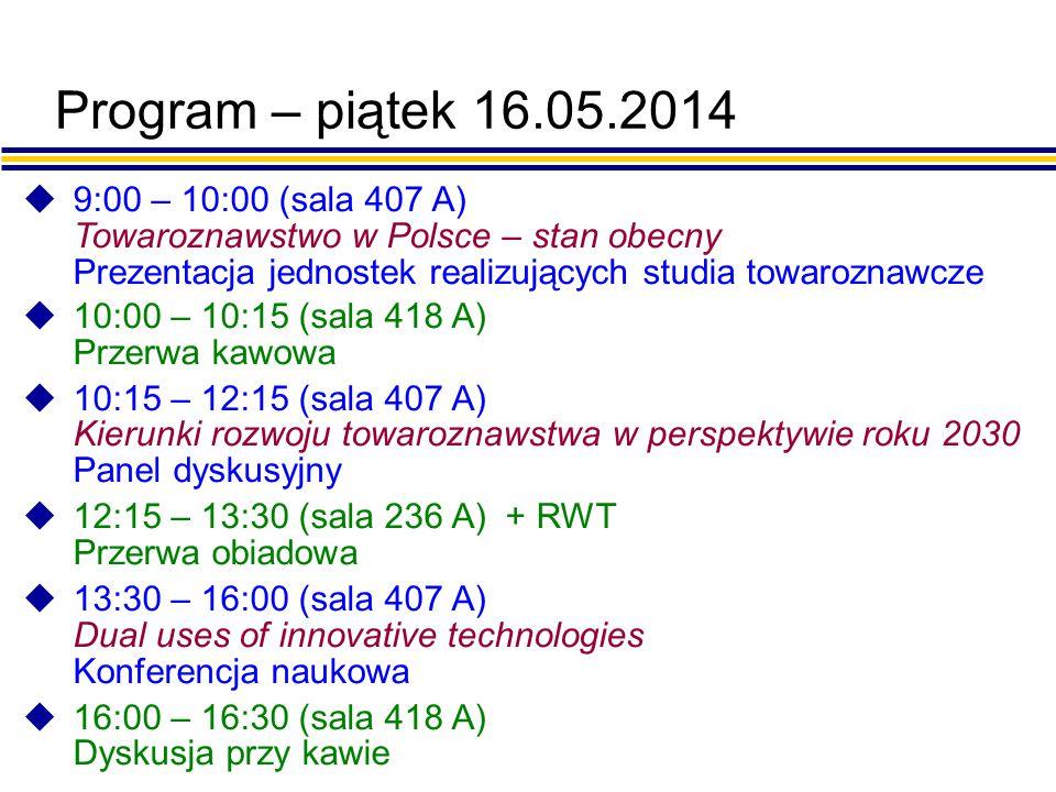 DNI WYDZIAŁU TOWAROZNAWSTWA Prezentacja jednostek Towaroznawstwo w Polsce – stan obecny 16.05.2014