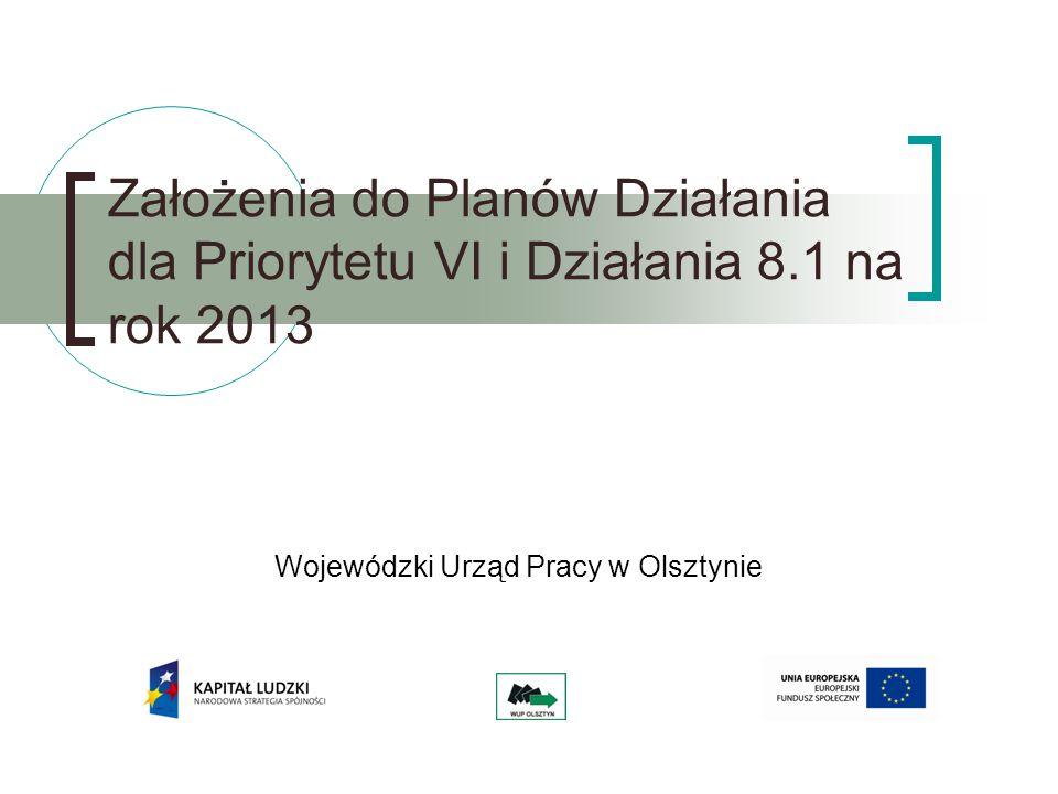 Wojewódzki Urząd Pracy w Olsztynie Założenia do Planów Działania dla Priorytetu VI i Działania 8.1 na rok 2013