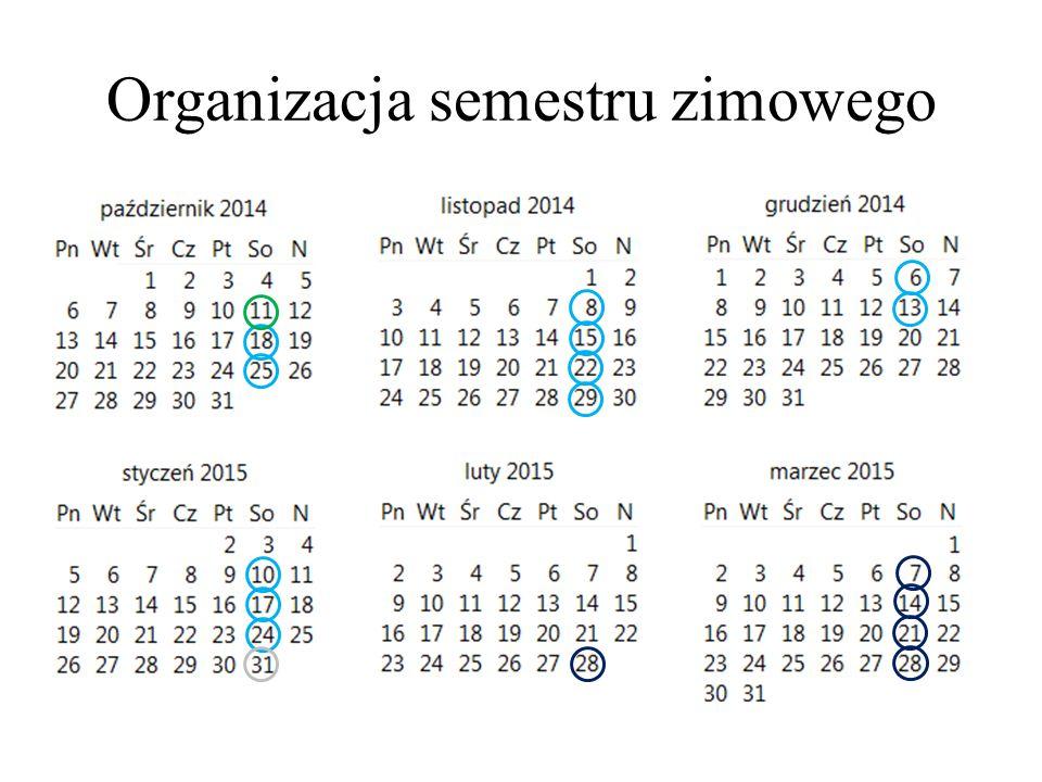 Organizacja semestru zimowego