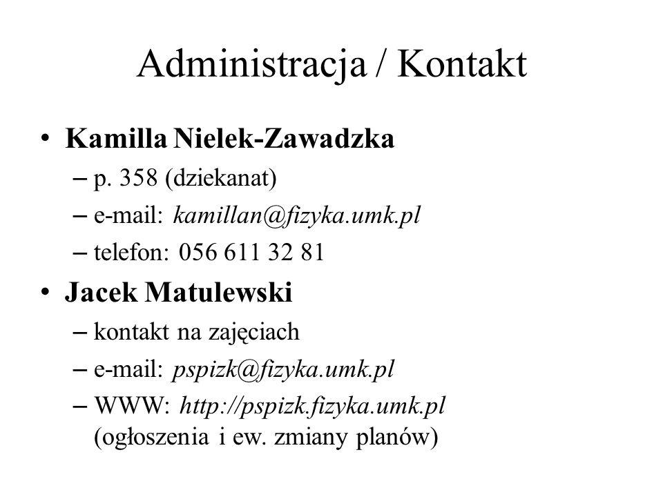 Administracja / Kontakt Kamilla Nielek-Zawadzka – p. 358 (dziekanat) – e-mail: kamillan@fizyka.umk.pl – telefon: 056 611 32 81 Jacek Matulewski – kont