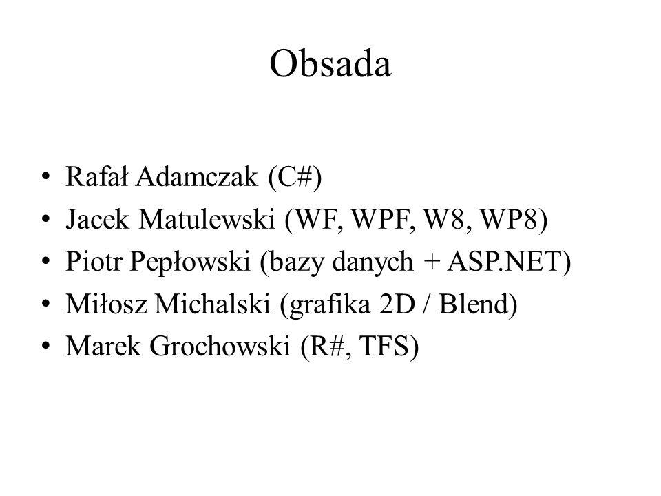Obsada Rafał Adamczak (C#) Jacek Matulewski (WF, WPF, W8, WP8) Piotr Pepłowski (bazy danych + ASP.NET) Miłosz Michalski (grafika 2D / Blend) Marek Grochowski (R#, TFS)