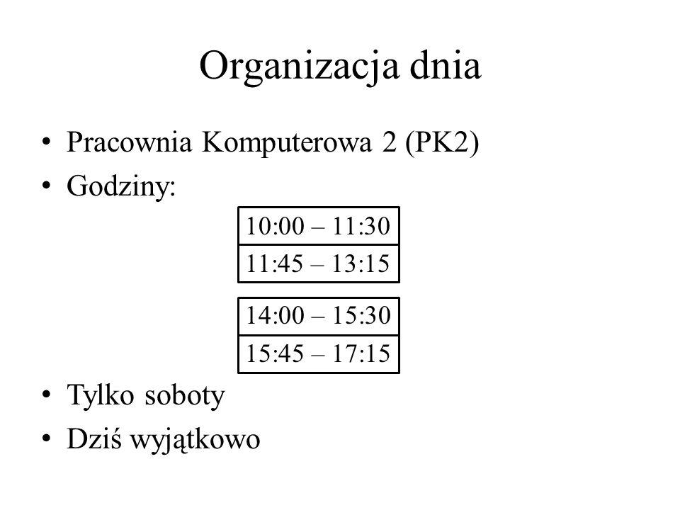 Organizacja dnia Pracownia Komputerowa 2 (PK2) Godziny: 10:00 – 11:30 11:45 – 13:15 14:00 – 15:30 15:45 – 17:15 Tylko soboty Dziś wyjątkowo