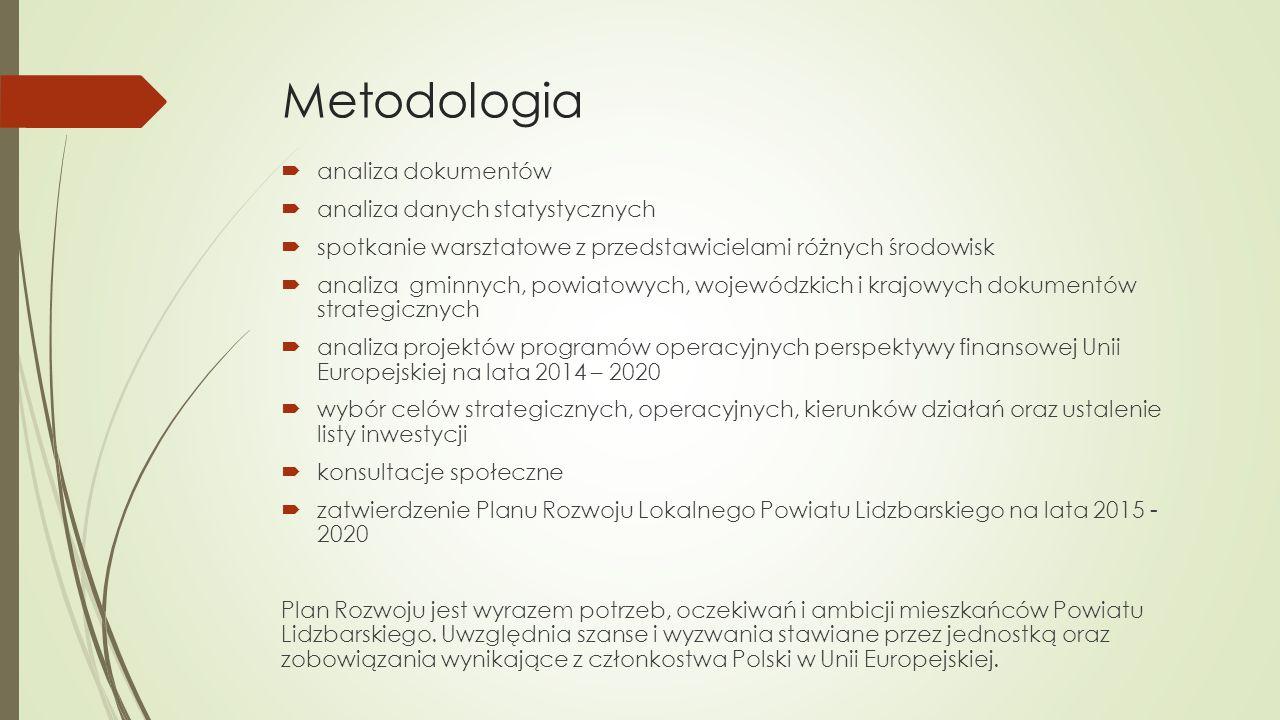 Metodologia  analiza dokumentów  analiza danych statystycznych  spotkanie warsztatowe z przedstawicielami różnych środowisk  analiza gminnych, pow