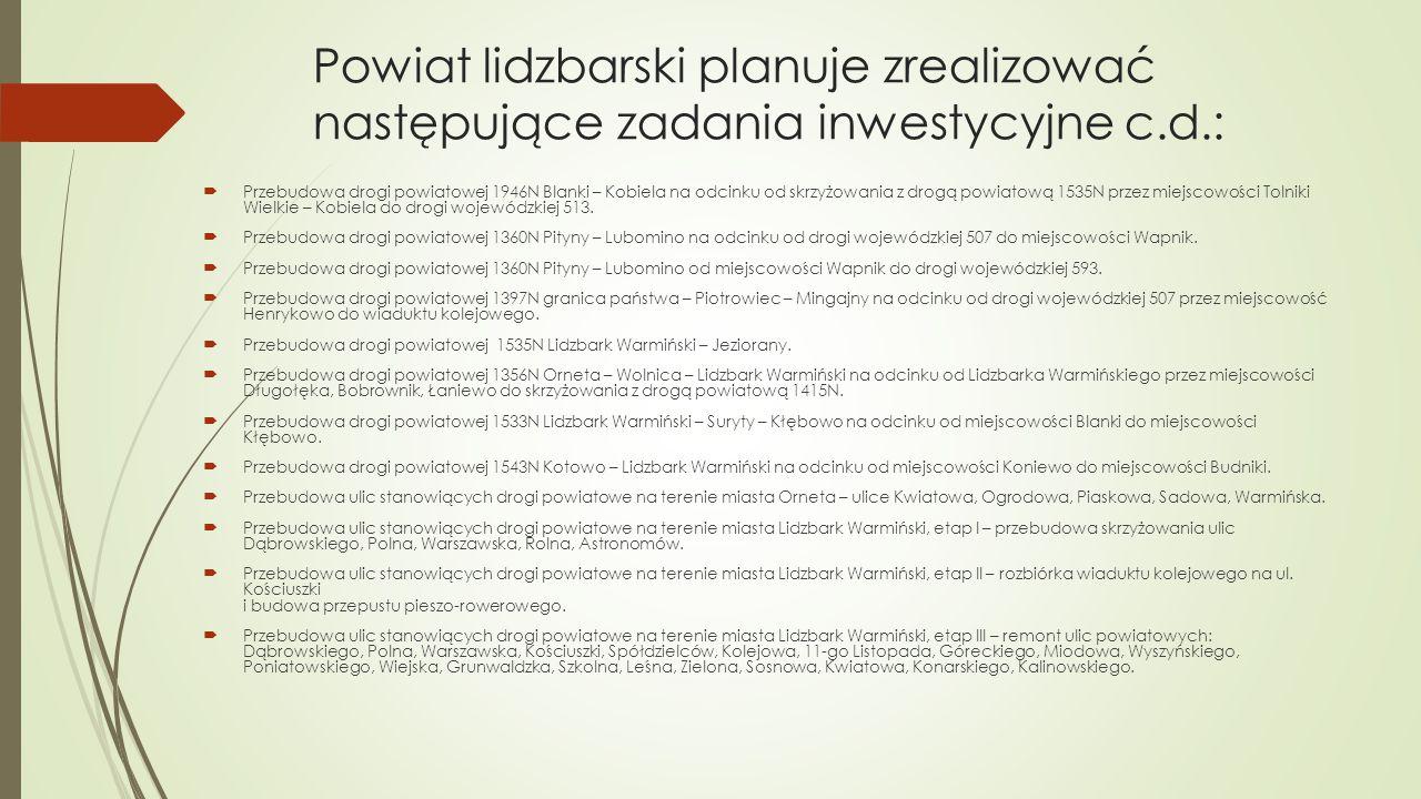 Powiat lidzbarski planuje zrealizować następujące zadania inwestycyjne c.d.:  Przebudowa drogi powiatowej 1946N Blanki – Kobiela na odcinku od skrzyż