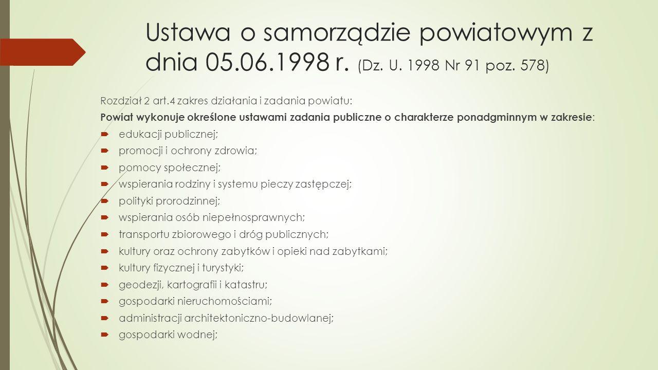 Ustawa o samorządzie powiatowym z dnia 05.06.1998 r. (Dz. U. 1998 Nr 91 poz. 578) Rozdział 2 art.4 zakres działania i zadania powiatu: Powiat wykonuje