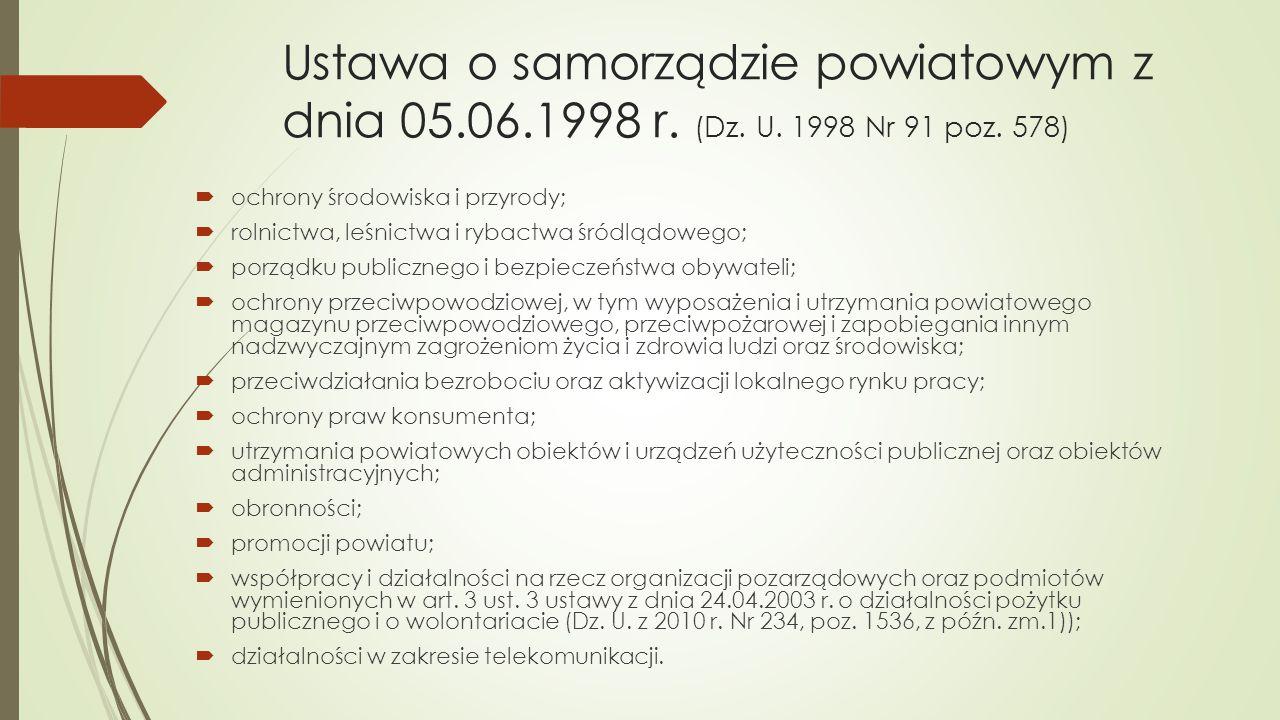 Ustawa o samorządzie powiatowym z dnia 05.06.1998 r. (Dz. U. 1998 Nr 91 poz. 578)  ochrony środowiska i przyrody;  rolnictwa, leśnictwa i rybactwa ś