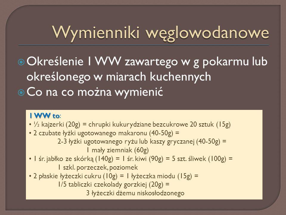  Określenie 1 WW zawartego w g pokarmu lub określonego w miarach kuchennych  Co na co można wymienić 1 WW to 1 WW to: ½ kajzerki (20g) = chrupki kuk
