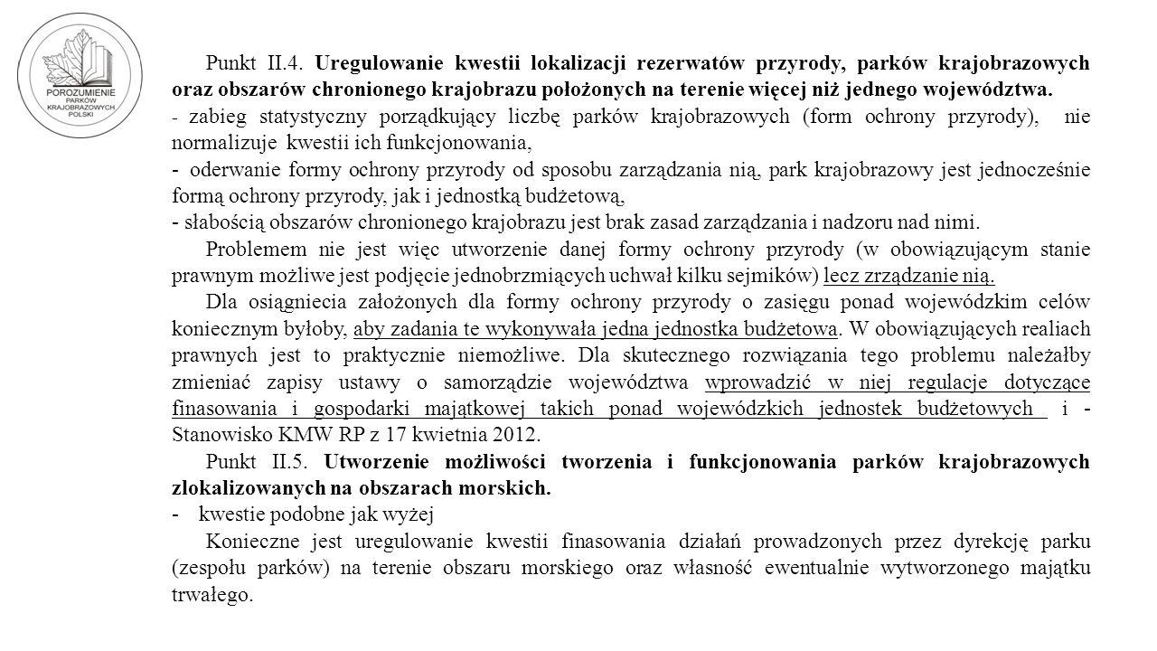 Punkt II.4. Uregulowanie kwestii lokalizacji rezerwatów przyrody, parków krajobrazowych oraz obszarów chronionego krajobrazu położonych na terenie wię