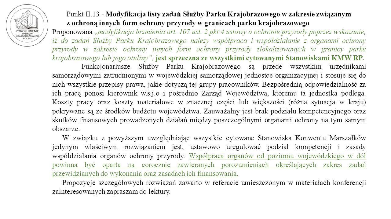 Punkt II.13 - Modyfikacja listy zadań Służby Parku Krajobrazowego w zakresie związanym z ochroną innych form ochrony przyrody w granicach parku krajob
