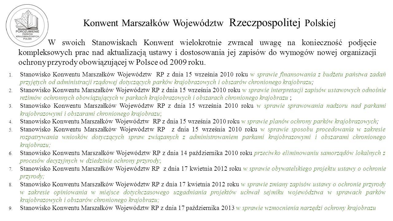 Konwent Marszałków Województw Rzeczpospolitej Polskiej W swoich Stanowiskach Konwent wielokrotnie zwracał uwagę na konieczność podjęcie kompleksowych