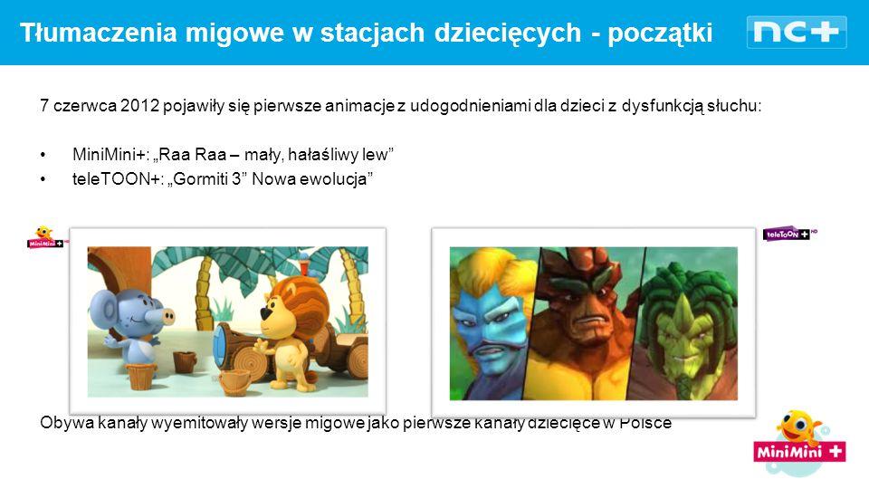 """7 czerwca 2012 pojawiły się pierwsze animacje z udogodnieniami dla dzieci z dysfunkcją słuchu: MiniMini+: """"Raa Raa – mały, hałaśliwy lew teleTOON+: """"Gormiti 3 Nowa ewolucja Obywa kanały wyemitowały wersje migowe jako pierwsze kanały dziecięce w Polsce Tłumaczenia migowe w stacjach dziecięcych - początki"""