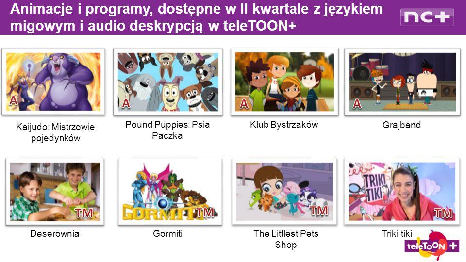 Animacje i programy, dostępne w II kwartale z językiem migowym i audio deskrypcją w teleTOON+ Deserownia Pound Puppies: Psia Paczka Klub Bystrzaków Grajband Gormiti Kaijudo: Mistrzowie pojedynków The Littlest Pets Shop Triki tiki
