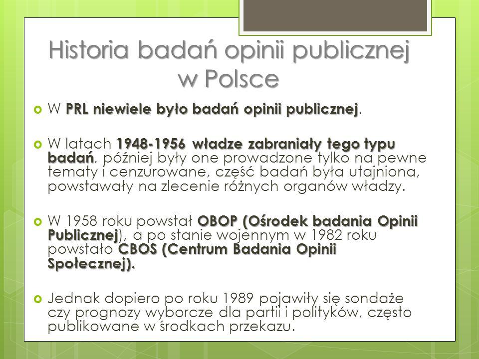 Historia badań opinii publicznej w Polsce PRL niewiele było badań opinii publicznej  W PRL niewiele było badań opinii publicznej.