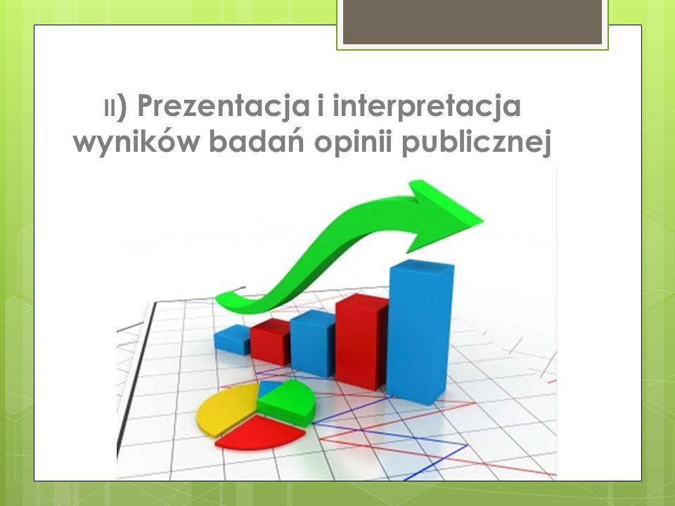 II ) Prezentacja i interpretacja wyników badań opinii publicznej