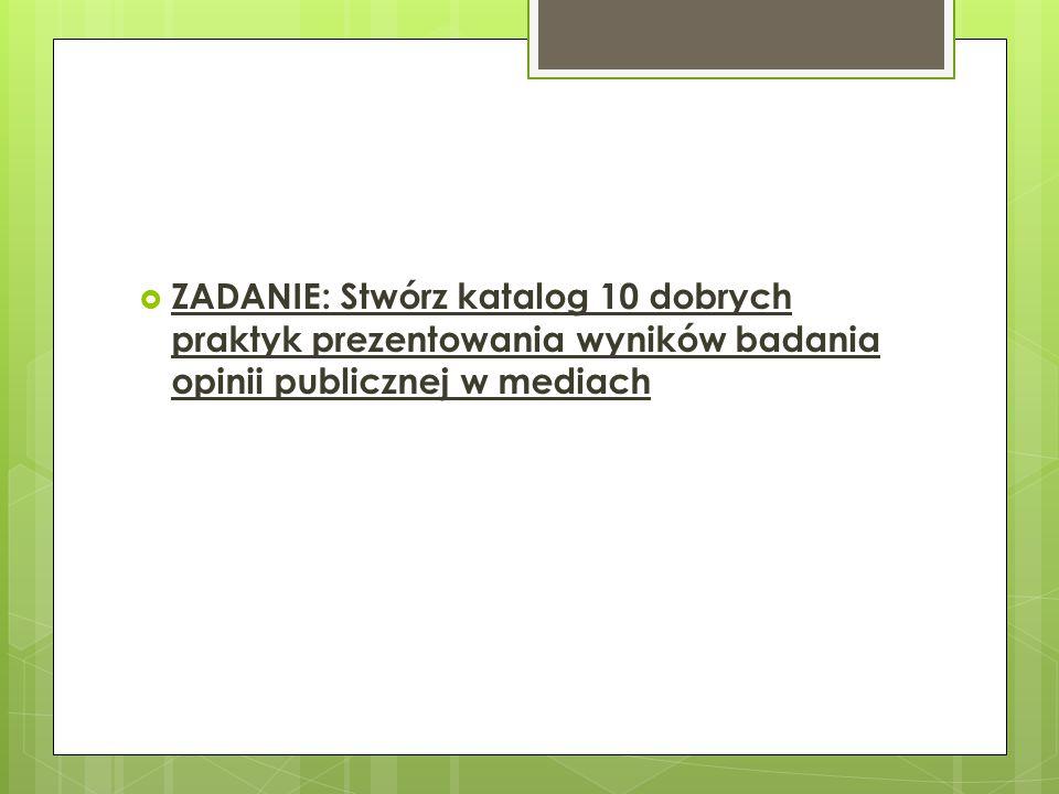  ZADANIE: Stwórz katalog 10 dobrych praktyk prezentowania wyników badania opinii publicznej w mediach