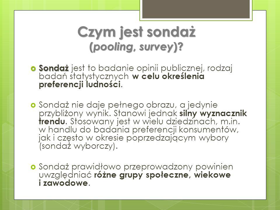 Czym jest sondaż ( pooling, survey ).