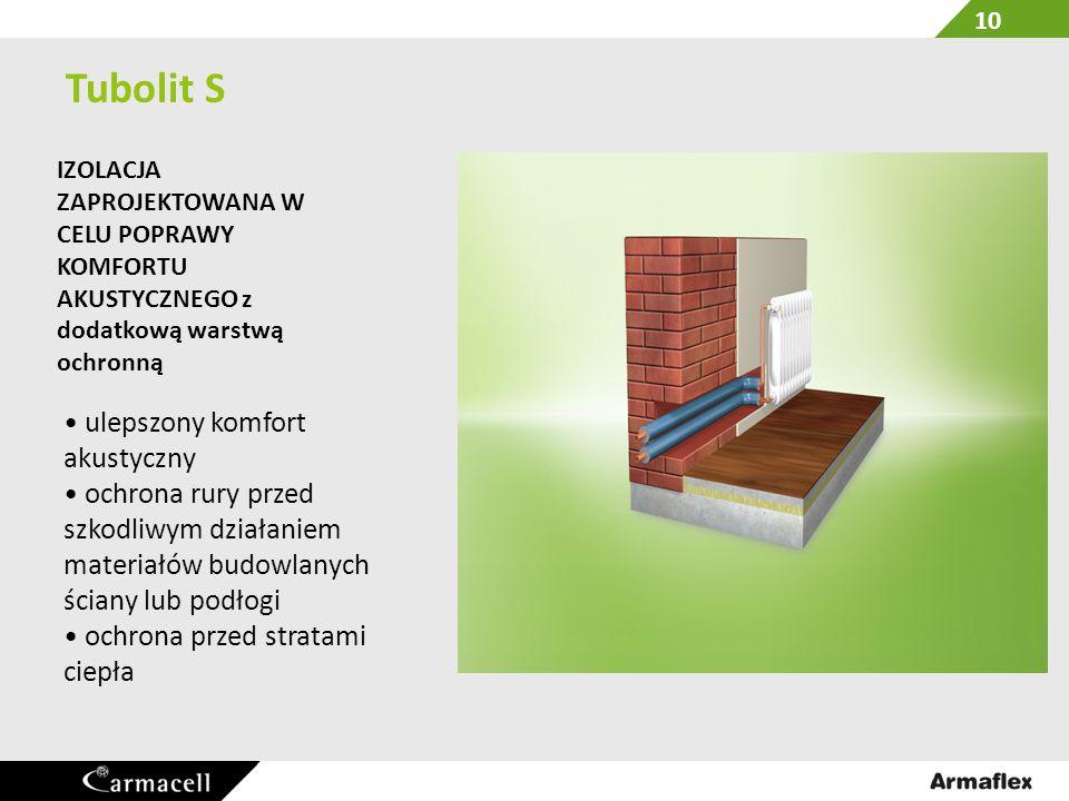 Tubolit S Izolacja z dodatkową warstwą ochronną Foliowa powłoka na zewnętrznej powerzchni dla dodatkowej ochrony powierzchni izolacj.