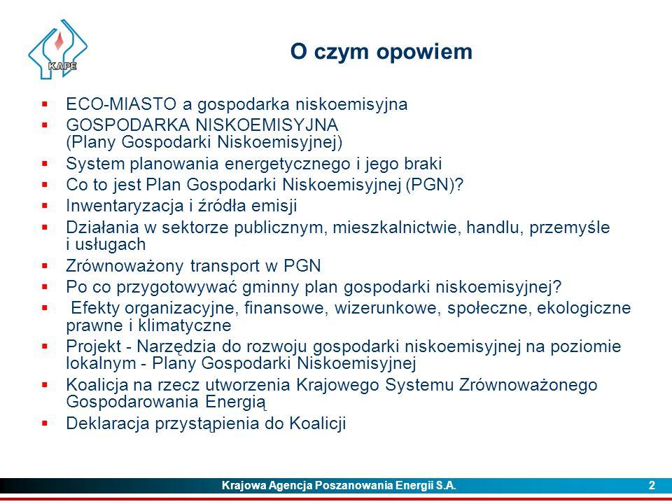 Krajowa Agencja Poszanowania Energii S.A. 2 O czym opowiem  ECO-MIASTO a gospodarka niskoemisyjna  GOSPODARKA NISKOEMISYJNA (Plany Gospodarki Niskoe