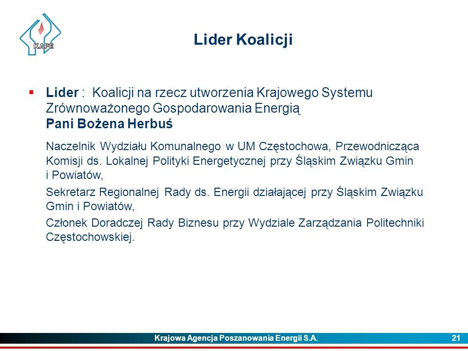 Krajowa Agencja Poszanowania Energii S.A. 21 Lider Koalicji  Lider : Koalicji na rzecz utworzenia Krajowego Systemu Zrównoważonego Gospodarowania Ene